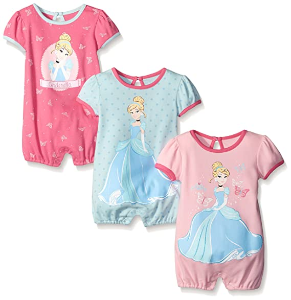 ee982657f Amazon.com  Disney Baby Girls  Cinderella 3 Pack Rompers  Clothing