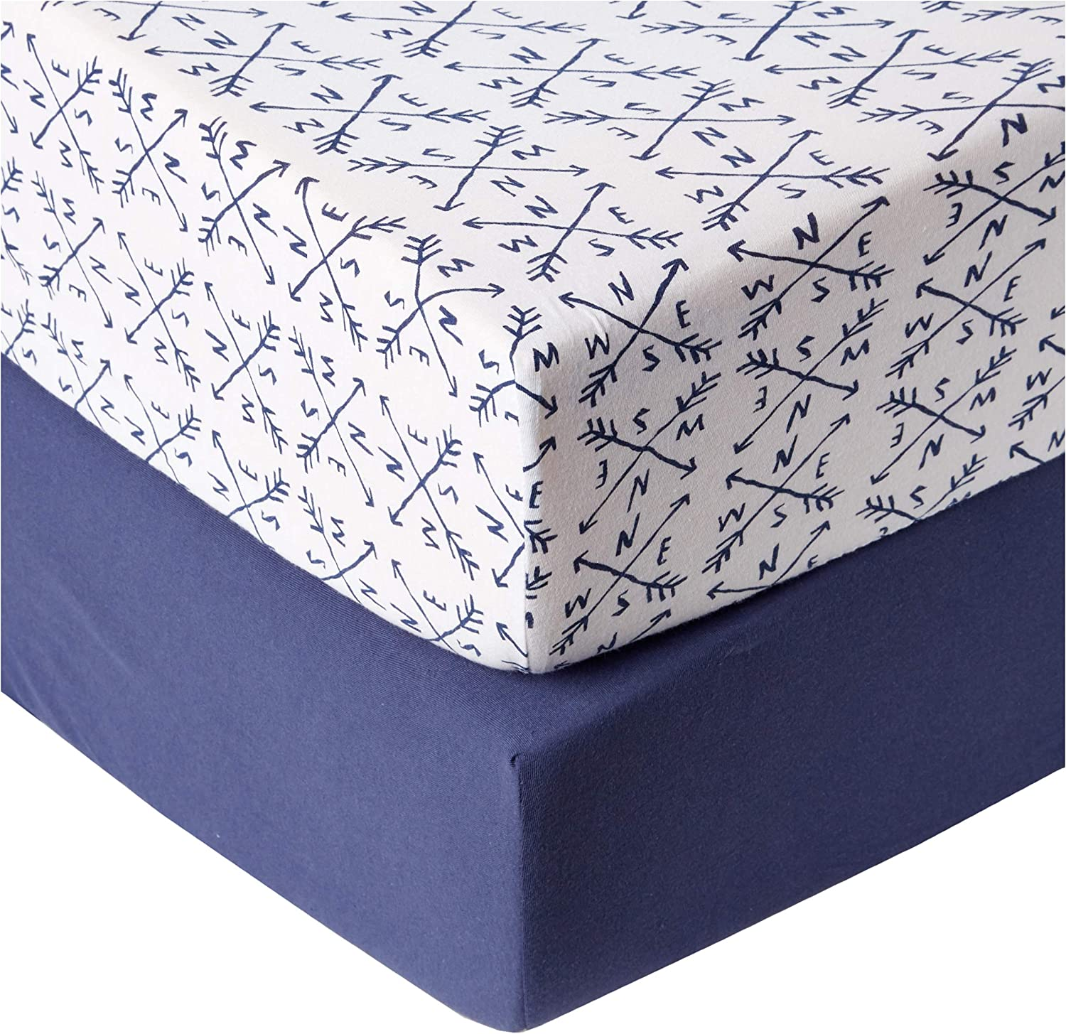One Size Set of Two HonestBaby Baby Organic Cotton Changing Pad Covers Winter Accessory Compass//Navy