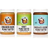 Wild Friends Foods All Natural Peanut Butter Variety Pack, Honey Pretzel, Chocolate Coconut, Cinnamon Raisin, 16oz, Pack of 3