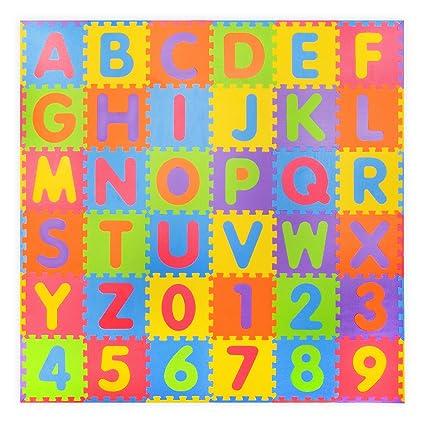 36 piezas Números suaves y Alfabeto Alfombras de juego con bordes ...