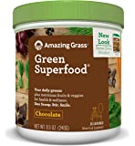 Amazing Grass Green Superfood, Chocolate, Powder, 30 Servings, 8.5oz, Wheat Grass, Spirulina, Alfalfa, Acai, Maca, Flax Seed, Detox, Active Cultures, Vitamin K, Greens, Probiotic