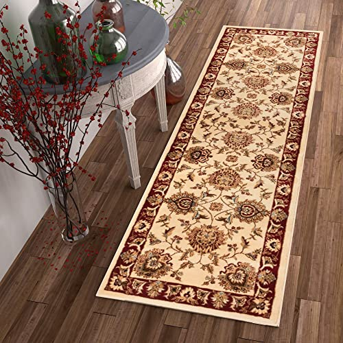 Sultan Sarouk Ivory Persian Floral Oriental Formal Traditional 2×7 2 3 X 7 3 Runner Rug Stain Fade Resistant Contemporary Floral Thick Soft Plush Hallway Entryway Living Dining Room Area Rug