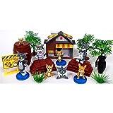 TOM AND JERRY 16 件套玩具套装,印有阿多姆和杰里人物人物和主题配件