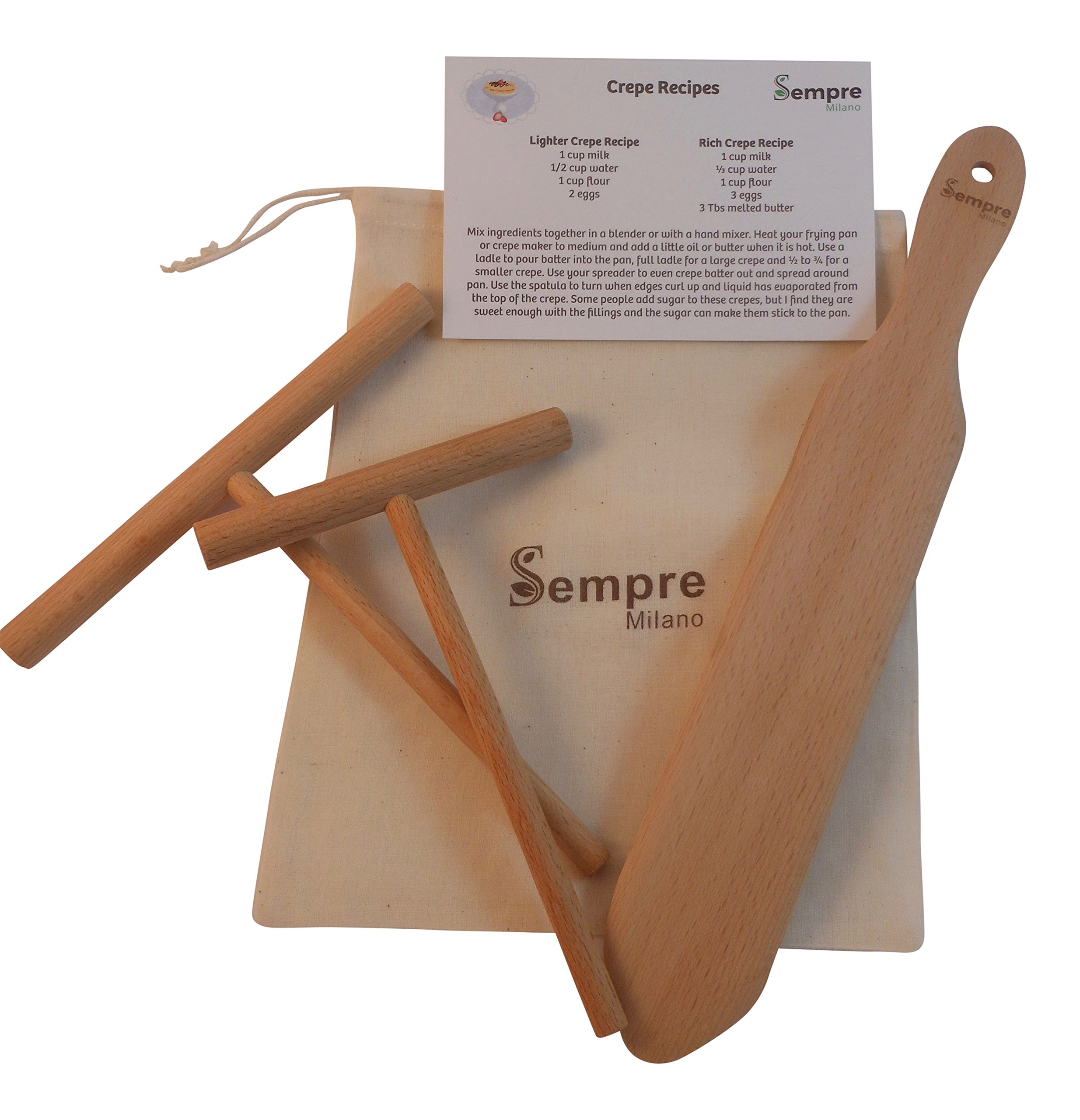 The ORIGINAL 3 Piece Crepe Spreader and Spatula Set (5 and 7 inch Spreaders and 13 inch Spatula) with Storage Bag and Recipe Card in Natural Beechwood By Sempre