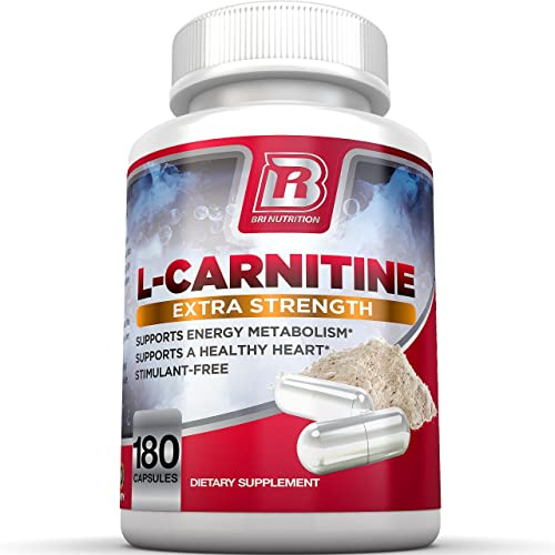 BRI L-Carnitine – 1000mg Premium Quality Carnitine Amino Acid Supports Athletic Performance, Stamina and Heart Health Stimulant Free Vegetable Cellulose Capsules 180 Count