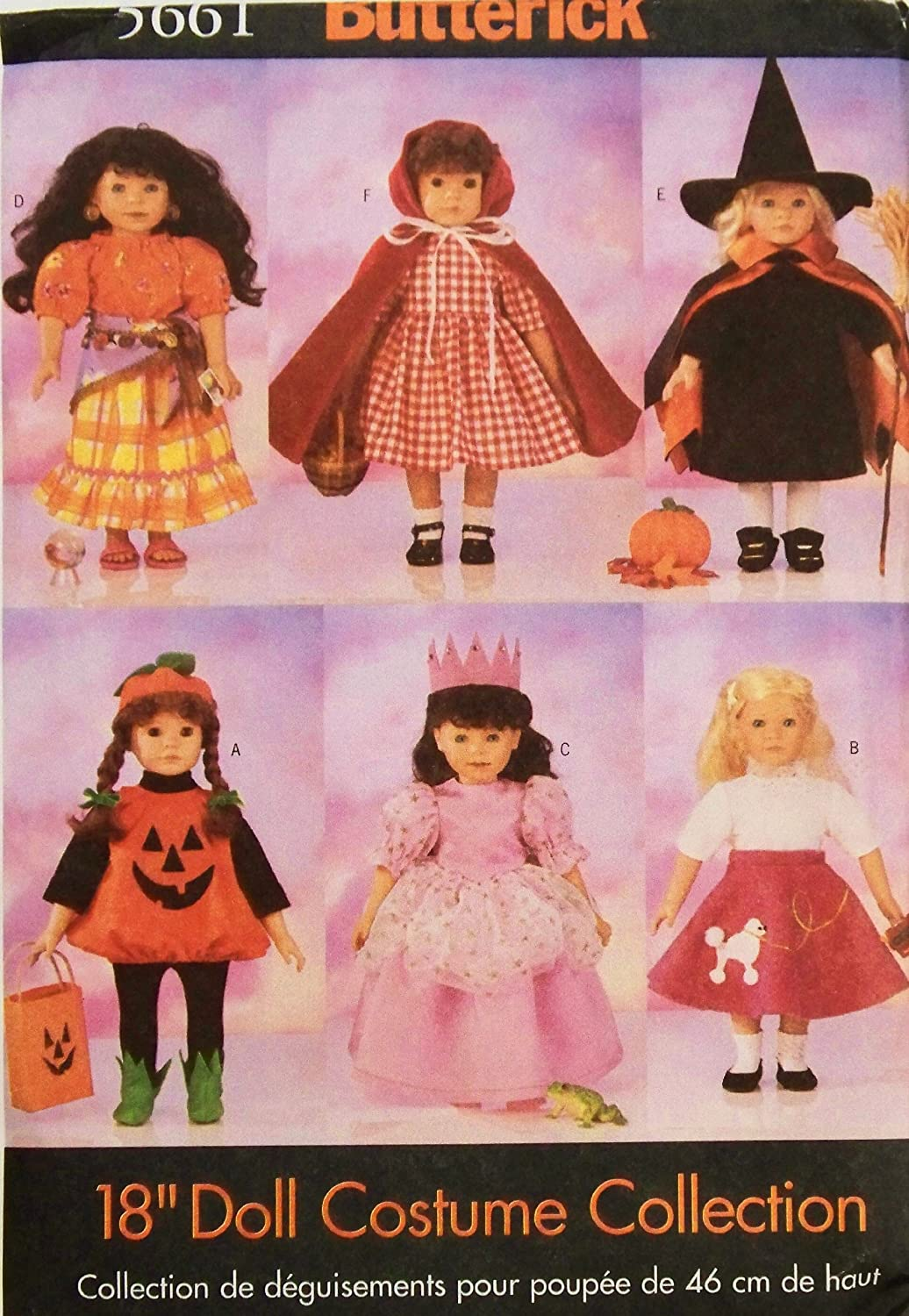 Amazon.com: Butterick Sewing Pattern 5661 18 Inch Doll Halloween Costumes:  The McCall Pattern Company: Arts, Crafts U0026 Sewing