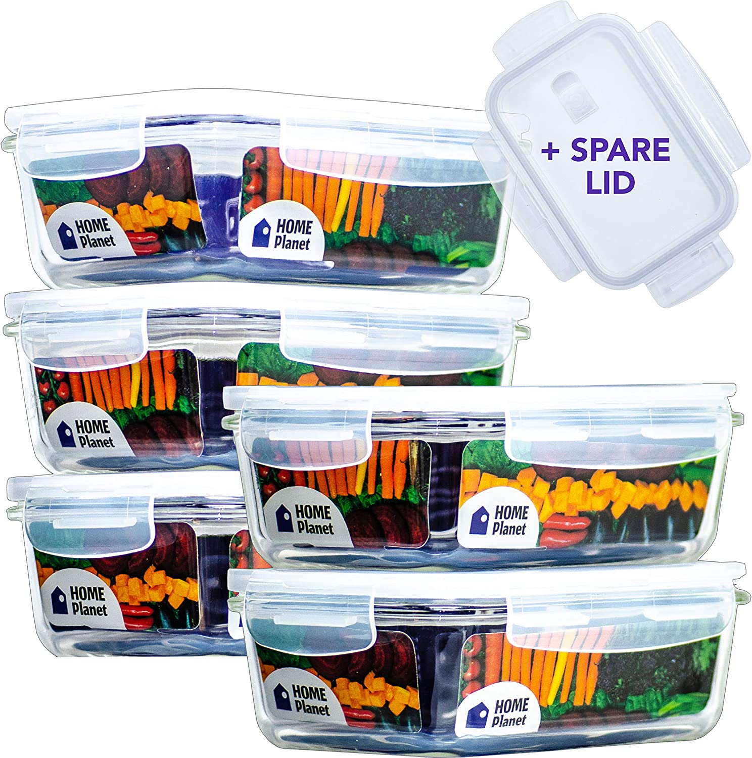 Home Planet Glass Meal Prep Containers | Food Containers Glass | 5 Pack 29 Oz 3.5 Cups | 97% Less Plastic Packaging | 6 BPA-Free Lids: 5+1 Spare | Glass Lunch Containers