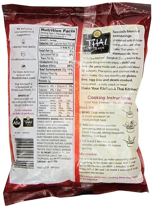 THAI KITCHEN Thai Bangkok Curry Instant Rice Noodle Soup, 45 Gram:  Amazon.ca: Grocery