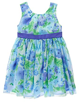 7c1165da3084 Amazon.com: Gymboree Baby Girls' Toddler Blue Floral Dress with Back Bow:  Clothing