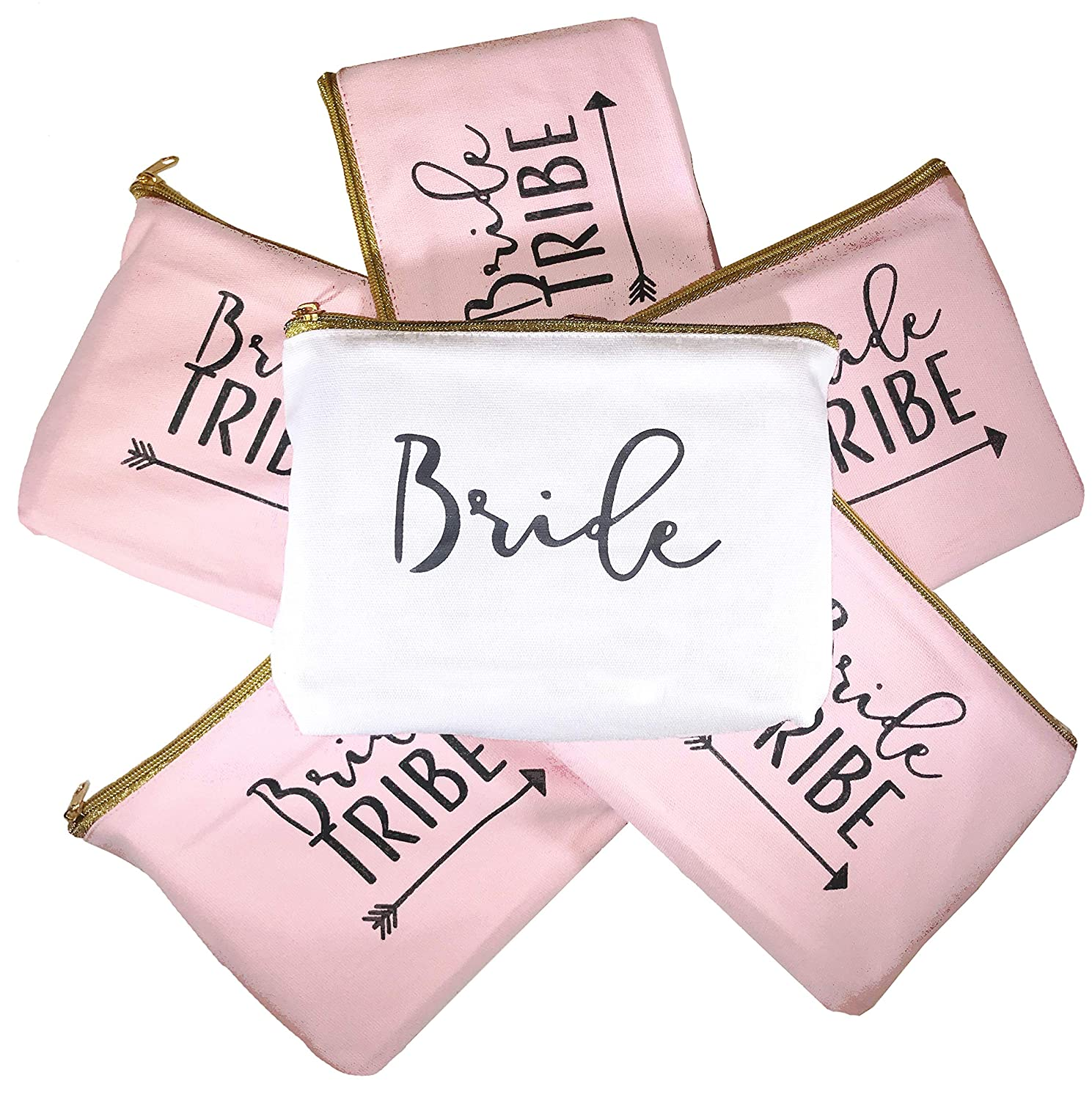 6 Piece Set | Bride Tribe Canvas Cosmetic Makeup Clutch Gifts Bag for Bridesmaid Proposal Box & Bridesmaids Bachelorette Party Favors (Rose Gold)