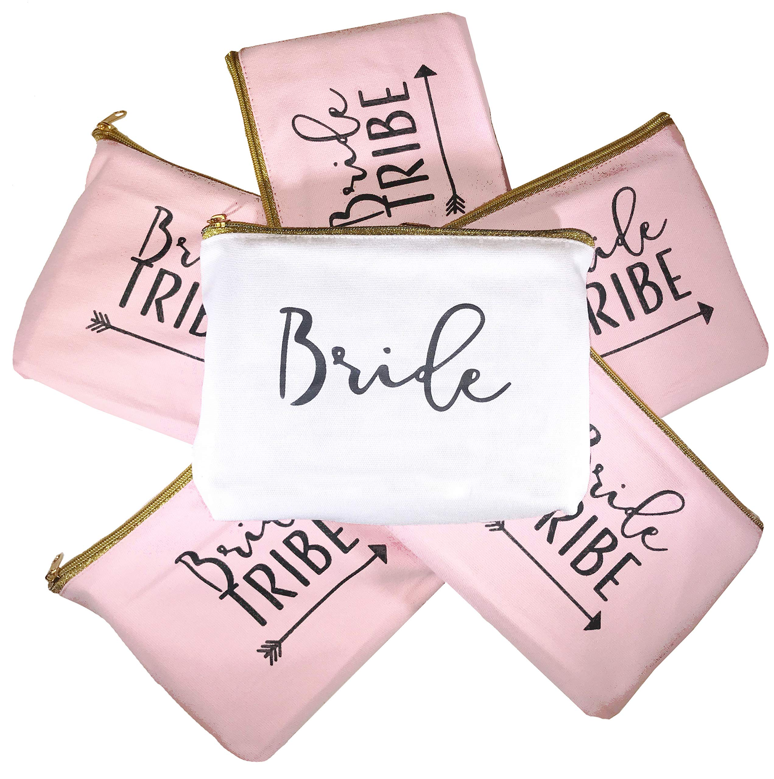 6 Piece Set   Bride Tribe Canvas Cosmetic Makeup Clutch Gifts Bag for Bridesmaid Proposal Box & Bridesmaids Bachelorette Party Favors (Rose Gold)