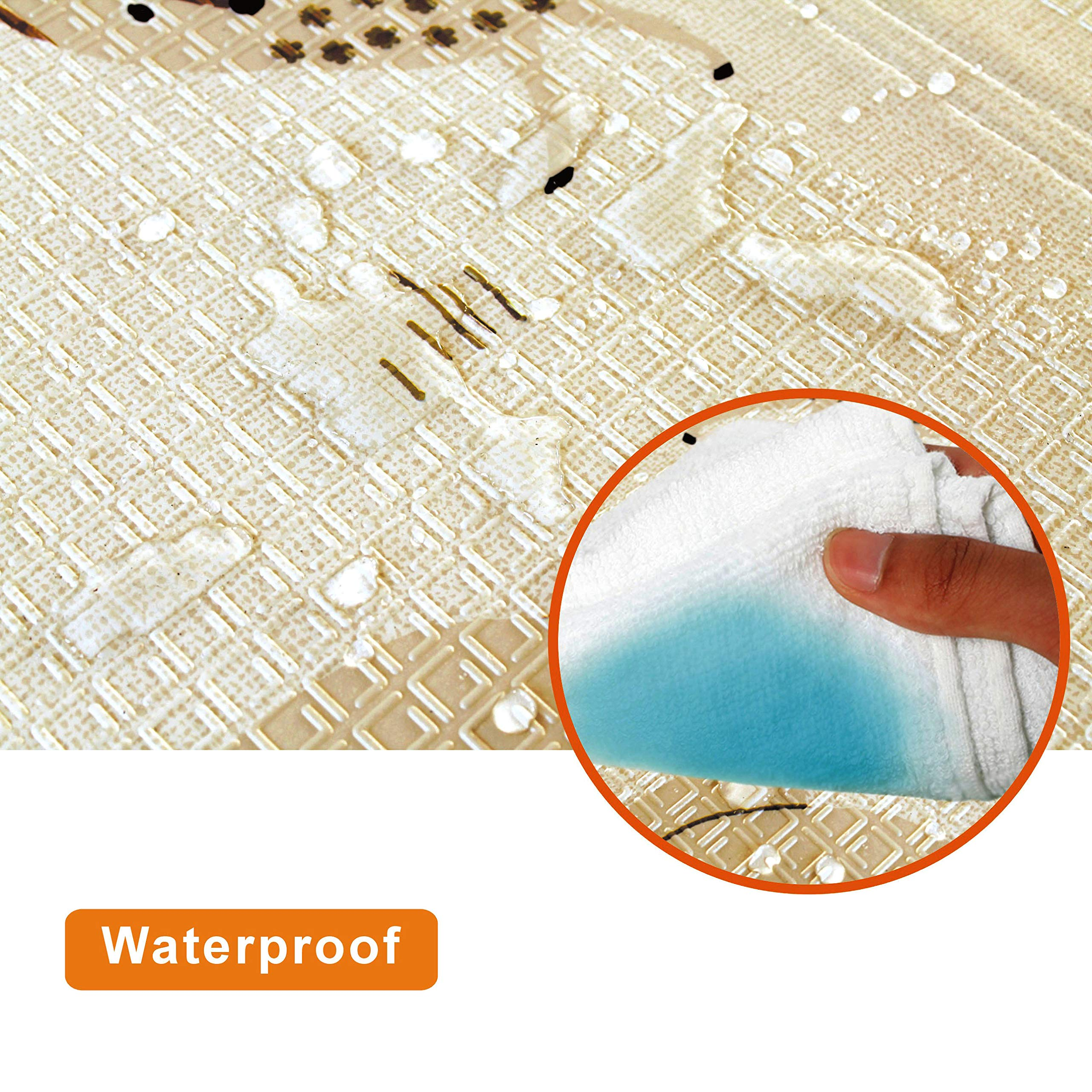 Baby Play mat Folding Baby Care XPE playmat Foam Floor Slip Extra Large Foam Reversible Waterproof Portable Double Sides Kids Baby Toddler Outdoor or Indoor Use Non Toxic, Colorful(57x76x0.4in) by Gupamiga (Image #6)