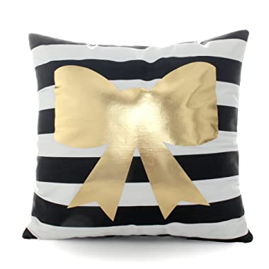 Kingla Home Soft Pillow Cases Decorative Throw Pillow Covers 18 x 18 Inch Cute Golden Bow Tie Black Stripes Couch Pillow Covers