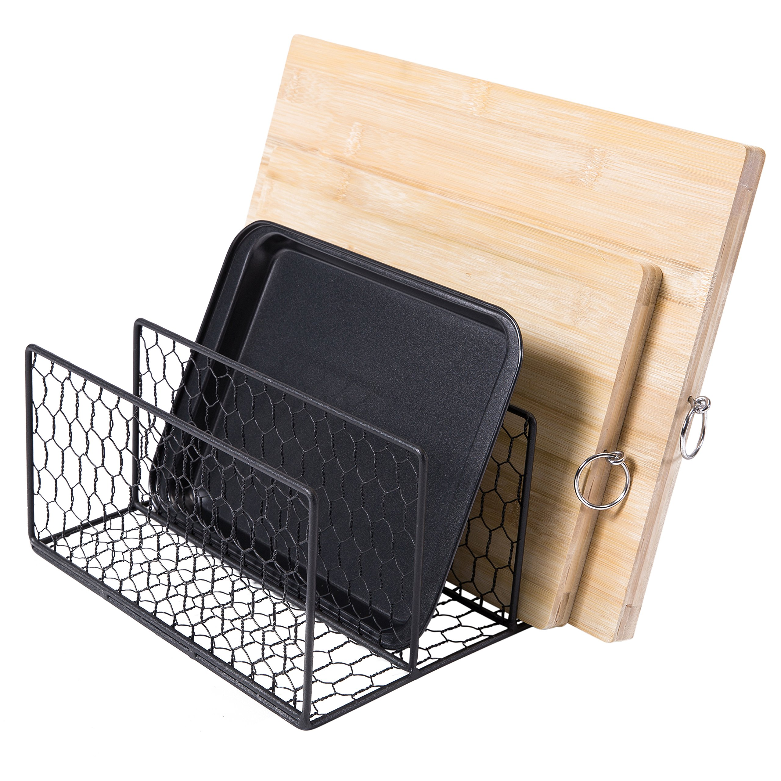 Chicken Wire Kitchen Cabinet Cookware Organizer Rack, Country Rustic 3-Slot Black Metal Pot Lid Holder