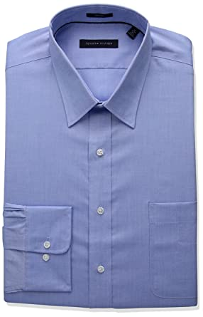 77aa17d2 Amazon.com: Tommy Hilfiger Men's Big and Tall Non Iron Fit Solid Point  Collar Dress Shirt, Blue, 20