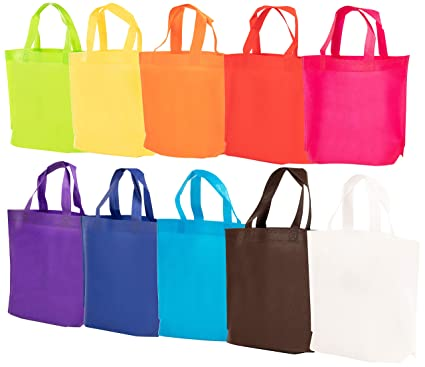 819d779f88af4 Party Favor Bags with Handles - 30-Pack Reusable Non-woven Gift Bags,  Rainbow Color Tote Bags for Goodies, Treats, Groceries, Great for Kids  Birthday ...