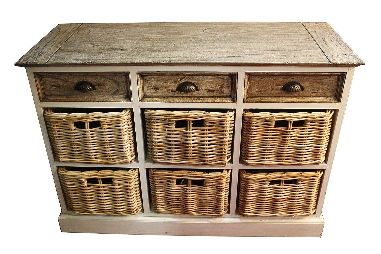 derrys Rustikal wieder Holz Aufbewahrung Sideboard mit 3/6Körben, Holz, Elfenbein/Natur