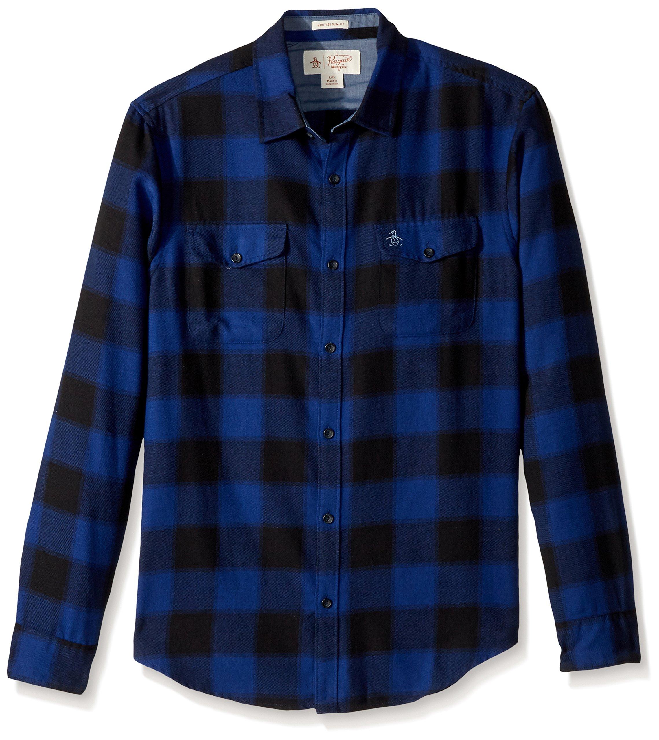 Original Penguin Men's Buffalo Plaid Brushed Shirt, Dark Sapphire, Large
