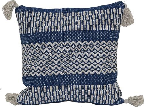 Brentwood Originals Pattern Stripe Pillow, 18 x 18 , Indigo