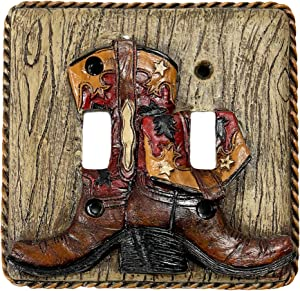 Urbalabs Western Cowboy Boots Roper Wood West Look Decorative Light Switch Outlet Wall Plate Covers Country Home Rustic Light Switch Covers Single Double 2 Gang Switch Plates (Double Switch)