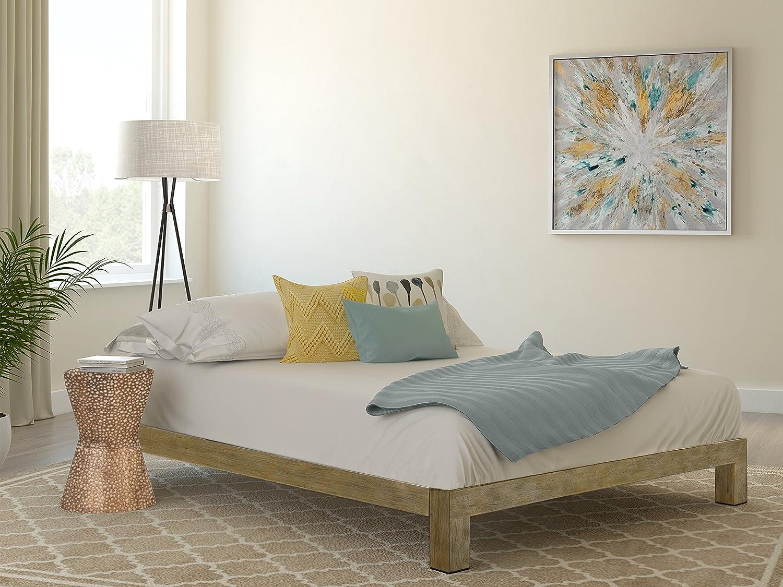 intelliBASE Lightweight Easy Set Up Bifold Platform White Metal Bed Frame, King