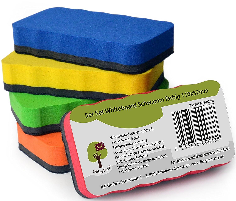 Set de 5 esponjas para pizarra blanca OfficeTree – 5 colores – magnéticas – limpias, secas y eficaces – elimina restos de escrituras y dibujos en ...