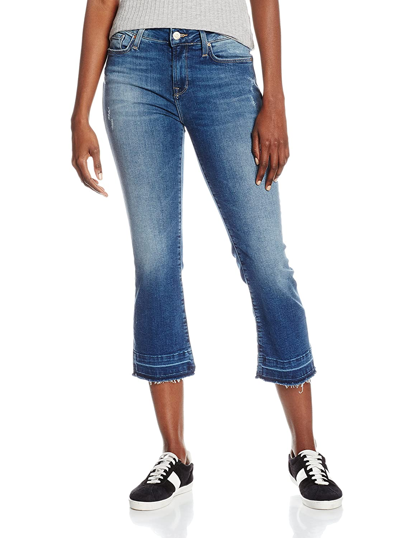 Mavi Womens Anika Mid-Rise Crop Flare Jeans