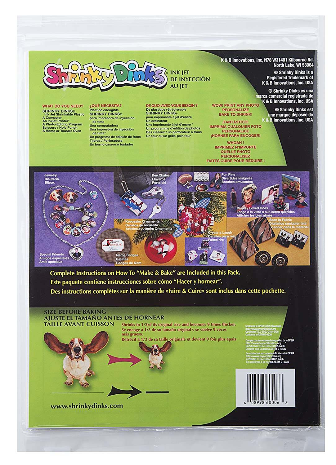 Amazon.com: Shrinky Dinks Creative Pack 6 Sheets for Ink Jet Printers: Toys  & Games