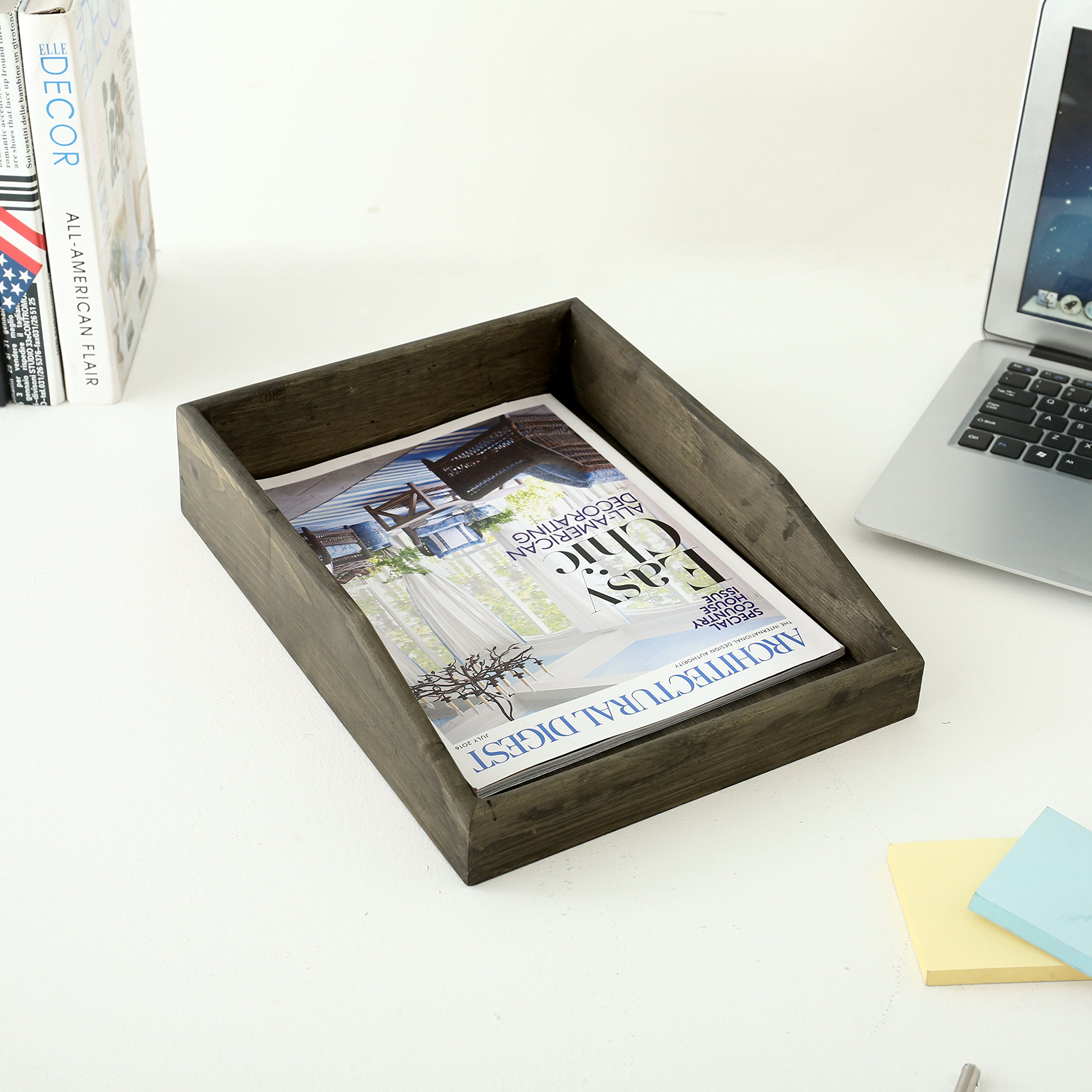 Set of 2 Barnwood Gray Wooden Stackable Document & Paper Trays by MyGift (Image #4)