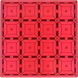 Magnetic Stick N Stack Stablizer Building Plate with 128 Enclosed Magnets, 12 x 12-Inch, Red