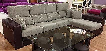MUEBLES MATO - Sofa cheslong cuarzo dch. Marron y beige ...
