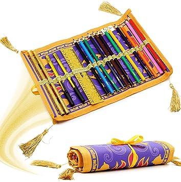 Disney Estuche Enrollable de la Alfombra de Aladdin Diseño con 17 lapices de Colores | Idea de Set Regalo para niños a Partir de 3 años