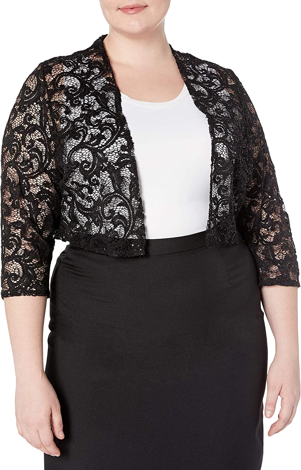 R/&M Richards Womens 1 Piece Plus Size Laced Shrug with Glitter Casual Night Out Dress