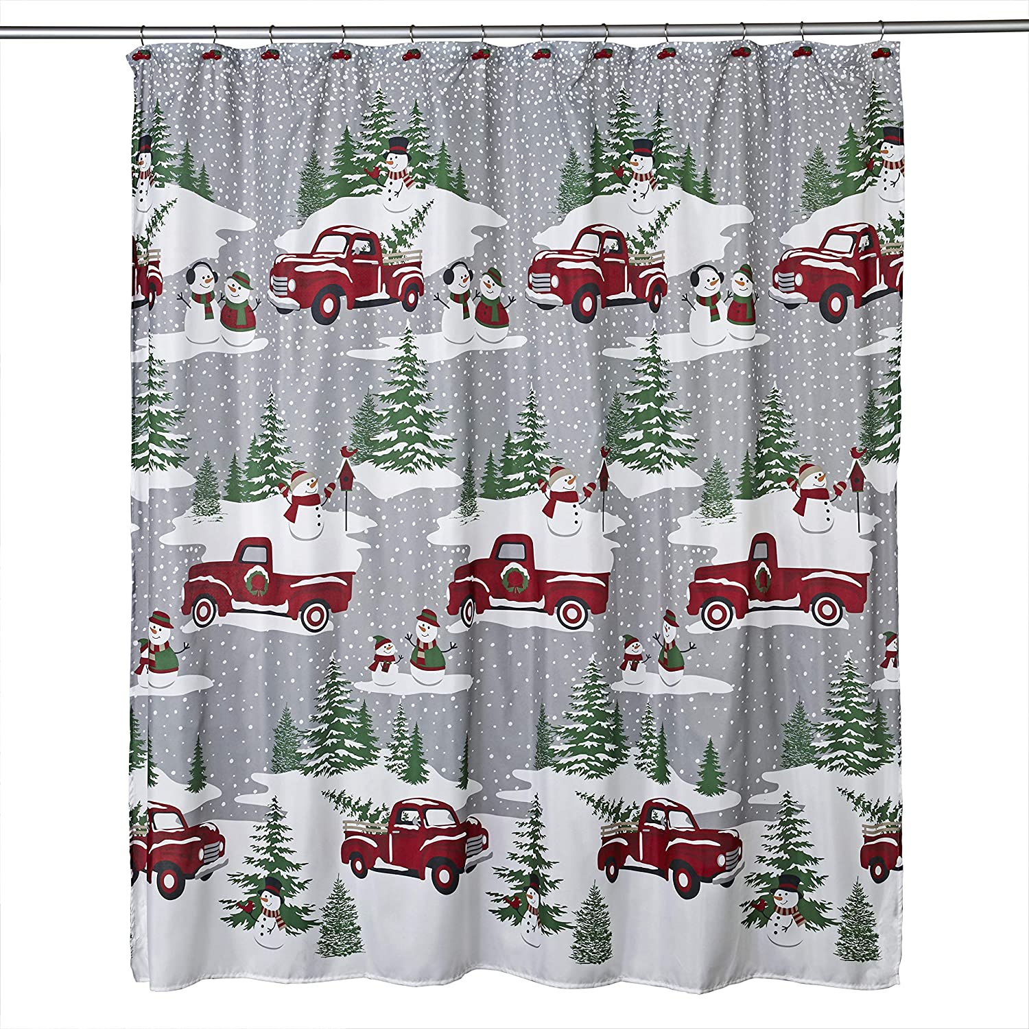 SKL HOME by Saturday Knight Ltd. Snowy Truck Shower Curtain and Hook Gift Set, Multicolored