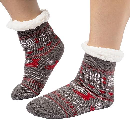Girls Kids Slipper Socks Plush Sherpa Lined with Non Skid ABS Sole Knit  Footwear (Girls de3ee430c5