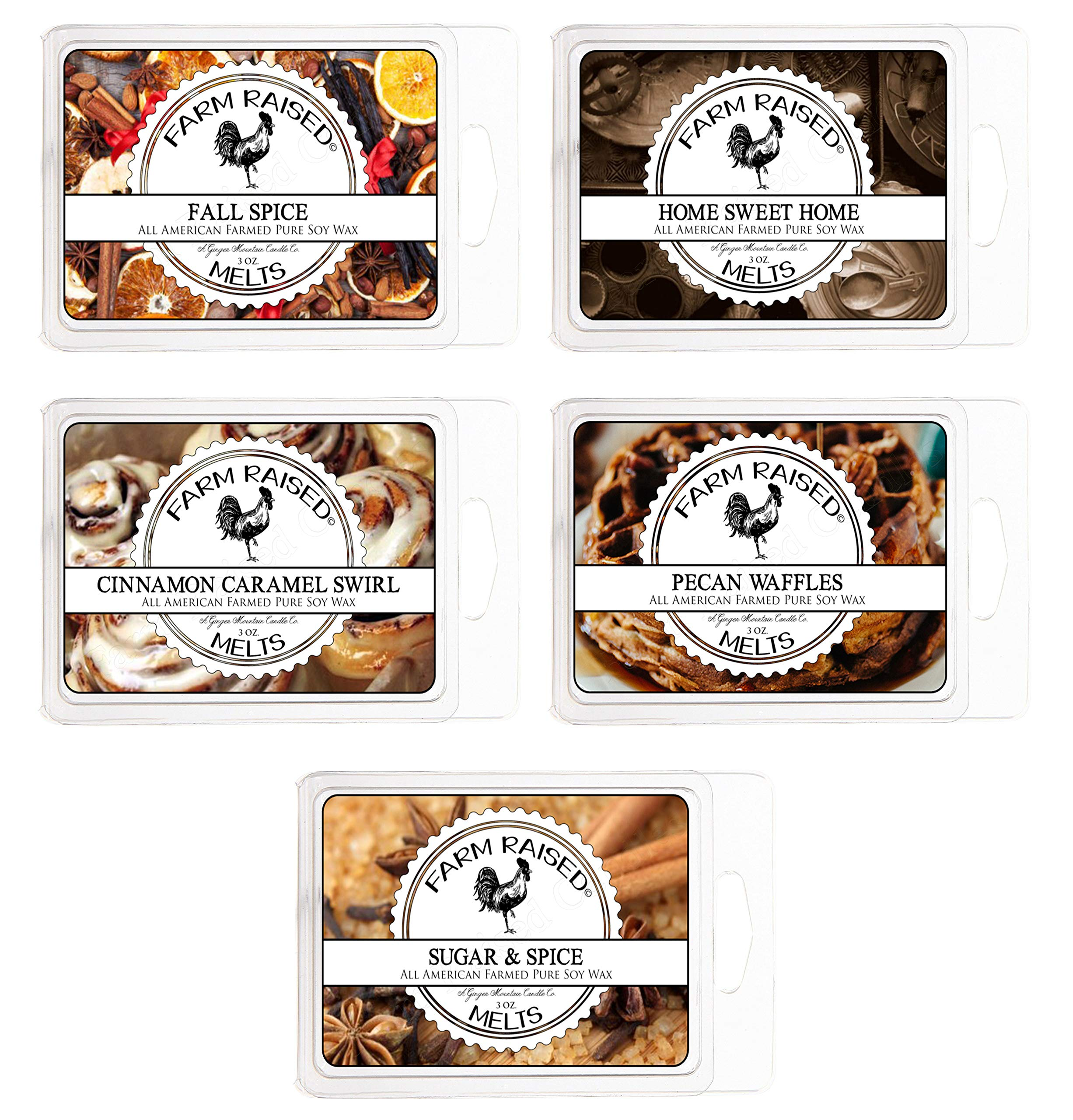 Farm Raised Candles Fall Spice Variety Assorted Mix 5 Pack.15 Ounces 100% All American Natural Made Paraffin-Free Scented Wax Melts Warmer Cubes. Scented Tarts Vegan Wax Melts. Like Candle Tarts Bars by Farm Raised Candles