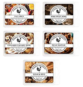 Farm Raised Candles Fall Spice Variety Assorted Mix 5 Pack.15 Ounces 100% All American Natural Made Paraffin-Free Scented Wax Melts Warmer Cubes. Scented Tarts Vegan Wax Melts. Like Candle Tarts Bars