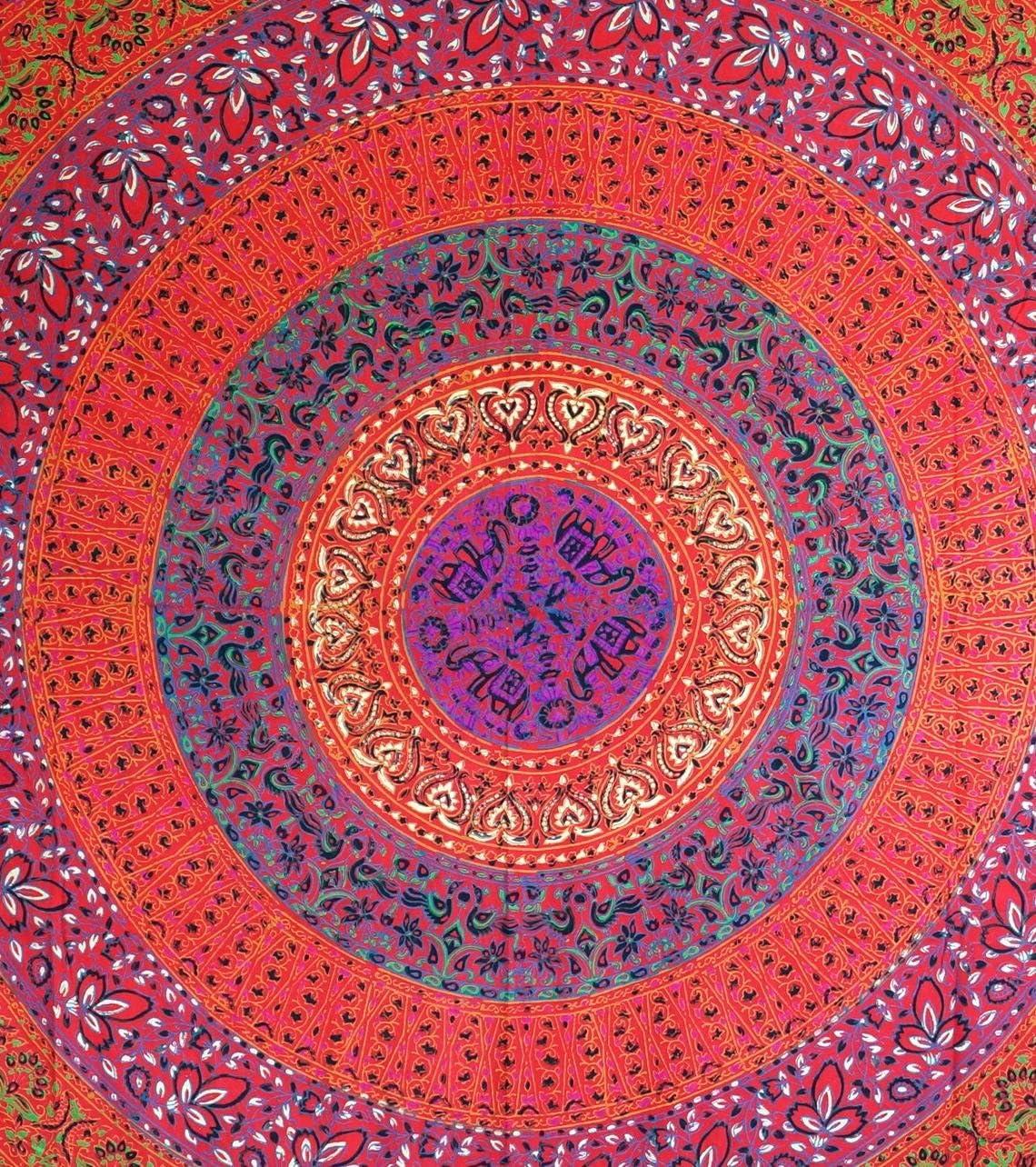 Batik Guru-Shop Indisches Mandala Tuch Mehrfarbig 240x210 cm Baumwolle Sofa /Überwurf Bett/überwurf Batik Wandtuch Tagesdecke Mandala Druck