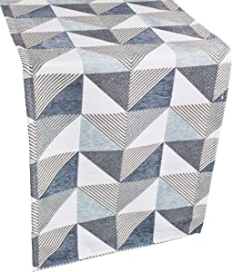 Beautiful Table Runner Features a Classic-Inspired Vibrant Color Triangle Pattern with Blue and Gray Chenille Fabric Dresser Scarf, Coffee Table Runner, Furniture Cover (16Wx54L)