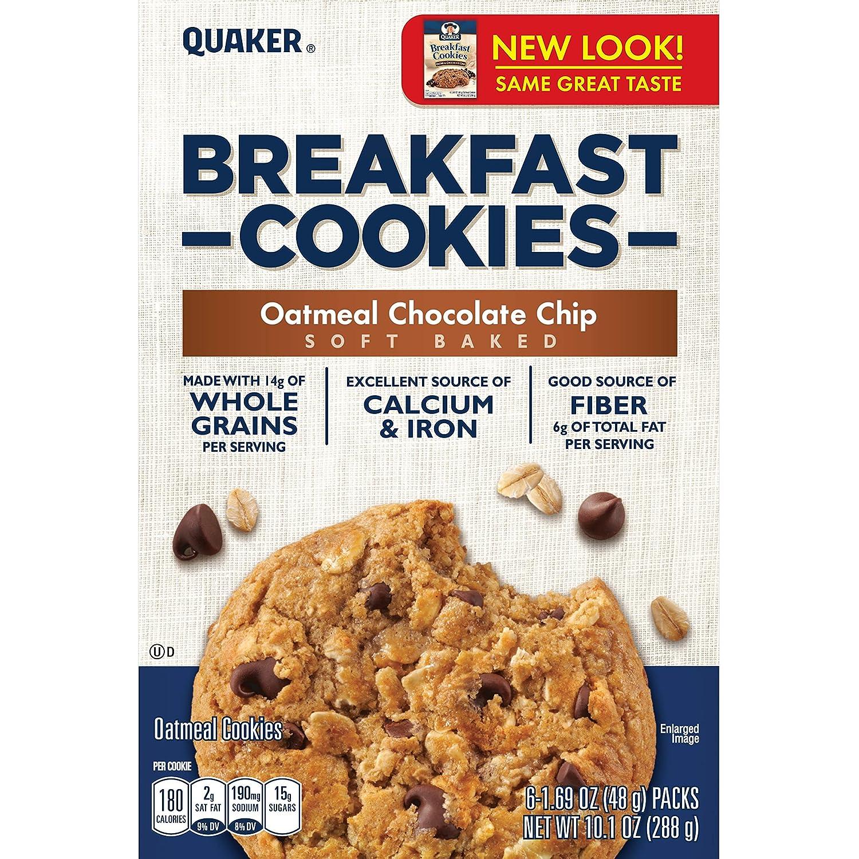 Quaker Breakfast Cookies, Oatmeal Chocolate Chip, 6-1.69oz Cookies Per Box