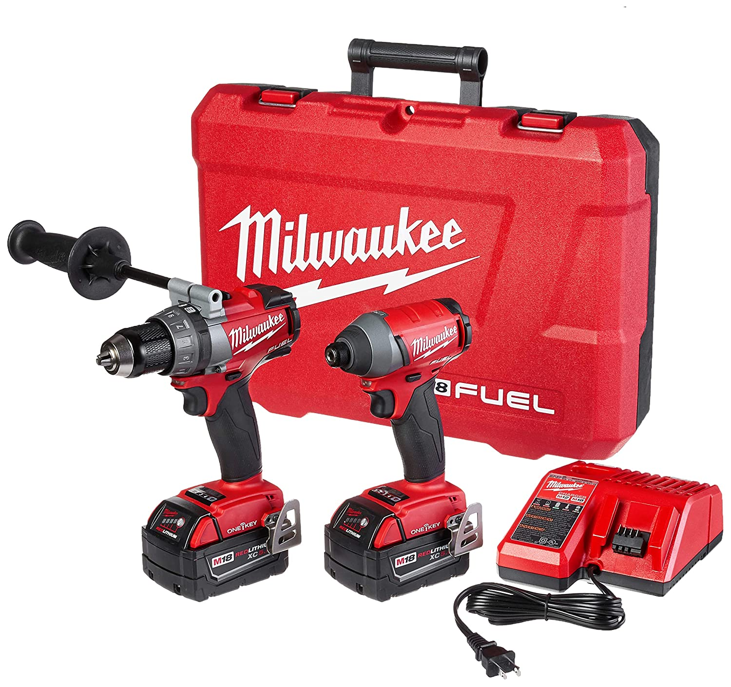 Milwaukee 2796-22 M18 FUEL ONE-KEY 18-Volt Lithium-Ion Brushless Cordless Hammer Drill Impact Driver Combo Kit