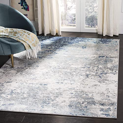 Safavieh Brentwood Collection BNT822F Light Grey and Blue Area 5 3 x 7 6 Rug, 5 3 x 7 6