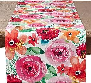 "SARO LIFESTYLE 3233.M1672B Sara B Collection Santa Monica Floral Table Runner, 16"" x 72"", Multi"