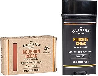 product image for Bourbon Cedar Exfoliating Body Bath Bar Soap & Aluminium Free Deodorant 2 Piece Set