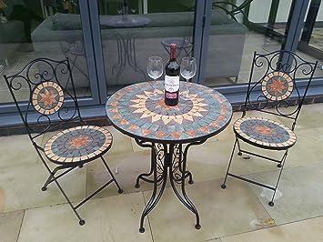 Merveilleux Fabulous French Style Ornate Mozaic Tiled Metal Garden Bistro Set