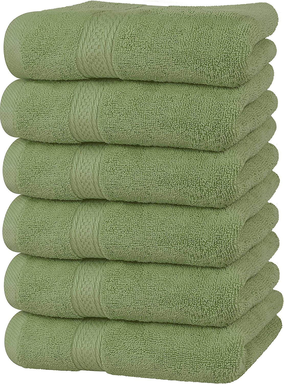 Utopia Towels Premium Sage Green Hand Towels - 100% Combed Ring Spun Cotton, Ultra Soft and Highly Absorbent, 600 GSM Exrta Large Hand Towels 16 x 28 inches, Hotel & Spa Quality Hand Towels (6-Pack)