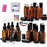 18 Amber Glass Bottles Pack- 6 Amber Glass Eye Dropper Bottle (1 Ounce) - 6 Amber Glass Sprayer Bottles (2 Ounce) - 6 Stainless Roller Balls Bottles (0.34 Ounce)