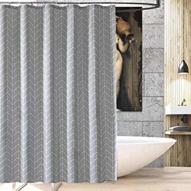 Grey Shower Curtain Farmhouse  Fabric Cloth shower curtains Mildew Resistant for Bathroom 72 x 72 (Gray white stripe)-Machine Washable