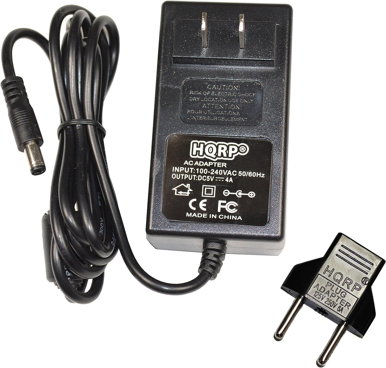HQRP AC Adapter fits Slingbox PRO-HD, Solo, SlingCatcher, SB300-100 SB260-100 SC100-100, Sling Media Ktec KSAFF0500400W1US DSA-20PFE-05 FUS 050300 EPSA050300U Power Supply Cord + Euro Plug Adapter