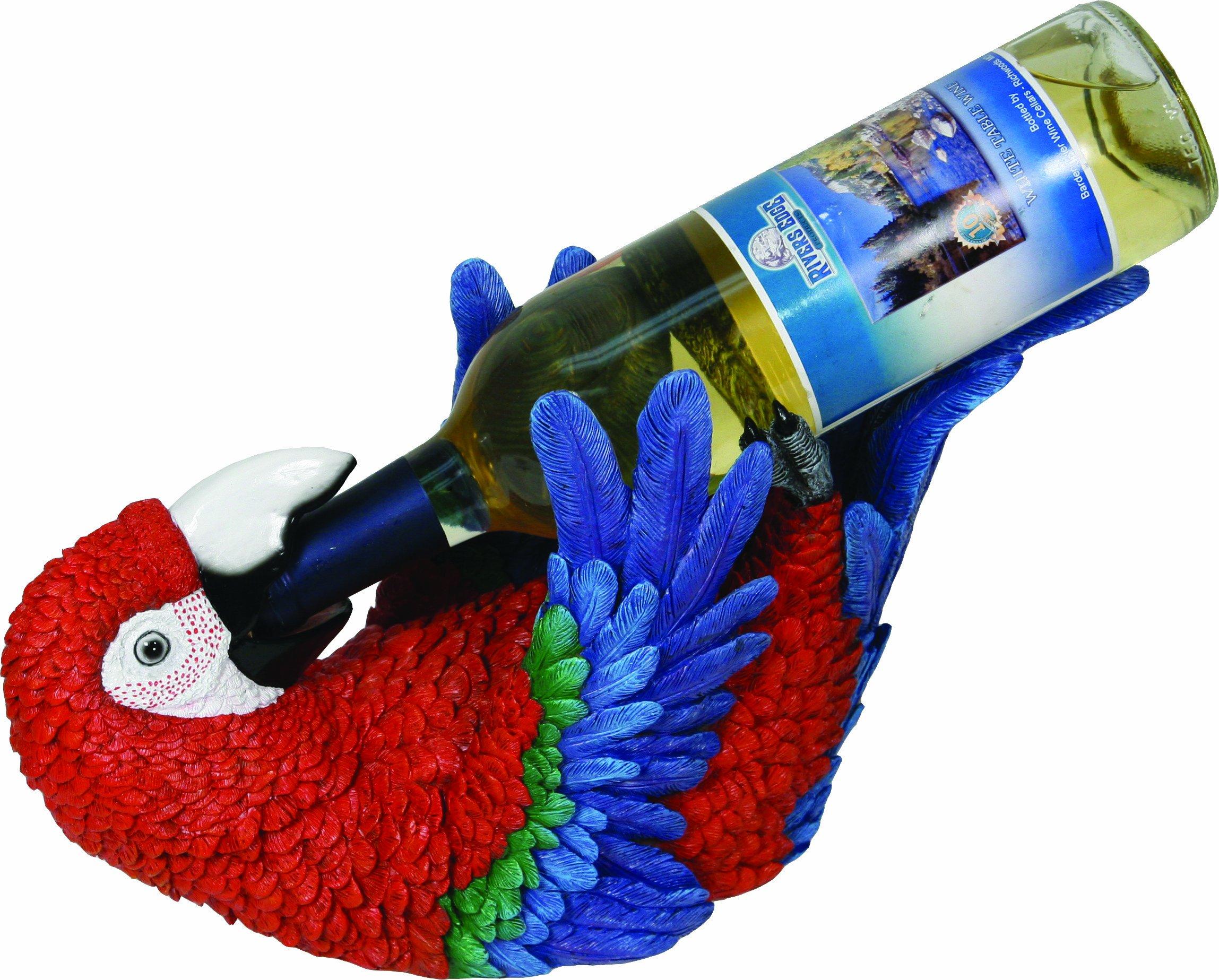 River's Edge Hand Painted Parrot Wine Bottle Holder